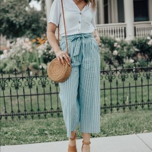Striped tie waist cropped pants